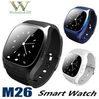 smartwatch handsfree оптовых-Smart Bluetooth наручные часы Smartwatch M26 Музыкальный плеер Шагомер Handsfree Наручные часы для Android IOS Мобильный телефон