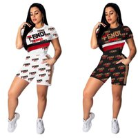 moda mulheres verão esporte roupas venda por atacado-Mulheres F carta Imprimir Fatos de Treino Com Capuz T-Shirt Top e Shorts Set Moda Terno Esportes 2 peça Set Roupas de Verão 9099