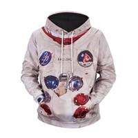 punk tarzı sweatshirt toptan satış-Yeni Moletom Erkekler / Kadınlar Grafik Ceket Harajuku Tarzı Komik 3d Baskı Astronot Ceket Kapşonlu Giyim Punk Kazak