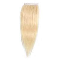 color de cabello virgen brasileño 613 al por mayor-Brasileño de la Virgen del Pelo Humano 4x4 Cierre de Cordón 613 de Color Rubio Peruano Indio Malasio Recto Onda del cuerpo 10-20 Pulgadas Remy pelo