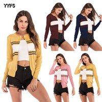 cardigans de colores al por mayor-La raya del color de punto chaqueta de punto, Traje de manga larga, cuello redondo, estilo cortocircuito de la chaqueta para Europea y mujeres estadounidenses de