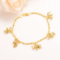 Wholesale gold elephant bangle resale online - Cute girls Bangle Women THAI BAHT Solid GOLD elephant hang Fine Bracelets Jewelry Hand Chain Arab Items kids jewelry best gift