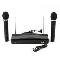 el profesyonel kablosuz mikrofon sistemi toptan satış-Freeshipping 75 KHz Mikrofon Sistemi Profesyonel Kablosuz Çift El 2 x Mic Alıcısı Pop / Şok Gürültü Koruma Sıkıştırma