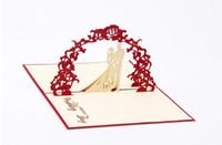 cartões de casamento rústicos venda por atacado-Convites de casamento Cartões 10 pcs Corte A Laser Impressão Personalizável Elegante Barato Vermelho Vintage Rústico 3D Cartão com Envelope GB662