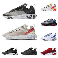 lumières noires achat en gros de-2020 nike react element 87 55 chaussures de course pour hommes femmes Light Bone triple noir royal Solar Team formateurs de baskets de sport pour hommes baskets de sport