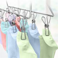 tissu feutré blanc achat en gros de-Clips en acier inoxydable épingles à linge pinces supports vêtements pinces pince d'étanchéité ménage pince à linge cuisine salle de bains CT0367