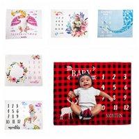 manta de franela recién nacida al por mayor-Mantas de bebé recién nacido Milestone fondo, fotografía de franela manta infantil Número flor de empañar Carta Envolver Wrap LJJA3530-4