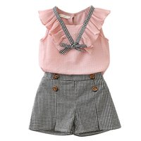 Wholesale kids designer clothes girls chiffon outfits children top grid shorts set Summer Boutique baby Plaid Clothing Sets B11