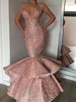 vestidos de noite árabe desenhador venda por atacado-Empoeirado Rosa Novo Designer Sereia Vestidos de Baile 2019 Dubai Árabe Longo Querida Beads Sashes Formais Vestidos Evening Party Wear Abendkleid