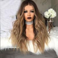 ingrosso parrucche bang riccioli-Brand new 2019 donne parrucche sintetiche lunghi capelli ricci seta parte centrale simulazione realistica del cuoio capelluto parrucca ombre con scoppi