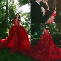 fee prom kleider großhandel-2019 Fairy Red Abendkleider V-Ausschnitt, kurze Ärmel, Overkirts Zug Sheer Applique Durchsichtig Party Mermaid Prom Kleider