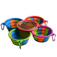 ganchos de comida al por mayor-Cuenco de perro de camuflaje Con gancho de silicona Cuencos plegables Alimentadores de alimentos para mascotas Cuencos plegables para mascotas de perros al aire libre