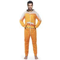 onesies para homens venda por atacado-Homens Onesies Com Capuz Impressão 3D Pijama Traje Cosplay Cerveja Criativo Macacão Sleepwear Mens Onesies