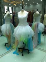 vestido feito sob encomenda do arco-íris venda por atacado-2019 Real Fotos Rainbow Ball Gown Vestido De Noiva Halter Backless Ruffle Tulle Vestido De Noiva Plus Size Custom Made Vestido De noiva