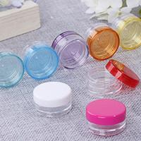 mini crema pequeña al por mayor-3 ml / 5ml pequeños tarros de la botella redonda, Mini vacío de uñas plástico Arte de almacenamiento empaquetado cosmético contenedores Crema Jar