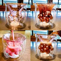 markalı kahve fincanları toptan satış-12 oz marka Kedi Pençe Paw Kupası Çift Duvar Cam Kahve Kupa El Yapımı Yaratıcı Süt Bira Suyu Çay Viski Cam Bardaklar 12 ADET AAA1873