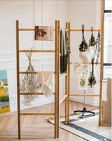 Wholesale ladder racks for sale - Group buy Towel rack Solid wood screen ladder frame ash wood log flower shelf storage rack decorative coat and hat rack