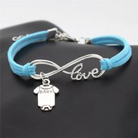 baby armband charme armbänder großhandel-Antike silberne Unendlichkeits-Liebes-nette Baby-Kurzschluss-Hülsen-Kleidung T-Shirt Spielanzug-Armband-Armband-Art- und Weiseblaues Leder