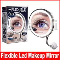 luces de vanidad baño al por mayor-Espejo de maquillaje Cuello de cisne flexible 10x 5x Aumento de luz LED Espejo de vanidad del baño con ventosa fuerte 360 grados Giratorio espejo de viaje