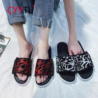 Wholesale sandal shose resale online - CYYTL Men Cool Comfort Graffiti Sandal Shose Non slip Household Flat Leisure Summer Beach Slide Slippers Chaussure Homme