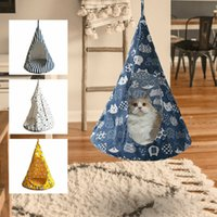Wholesale round beds resale online - Cat Bed Tent Hammock Hanging Bed Tent Cone Shape Breathable Cat House Linen Sponge Tent Hanging Cage Cover