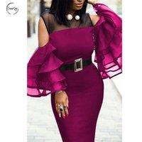 enge kleider party sommer großhandel-Plus Size-Partei-Kleid Afrikanische Frauen Frühling und Sommer-New Suede reizvolle Perspektive eng anliegende Hüfte-Kleid Stitching Sexy Kleid