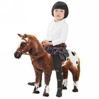 jouets d'équitation en peluche achat en gros de-Dorimytrader 82cm X 62cm Géant Doux En Peluche Simulation Animal Cheval De Guerre En Peluche Jouet Réaliste Cheval De Cheval En Peluche Jouet Cadeau pour Enfants