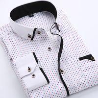 männer polka kleid hemden groihandel-Mensentwerfer Kleid Shirts gedruckt Plaid-Tupfen-Mann-Hemd-langärmlige beiläufige Hemden für Männer Slim Fit Male Kleid Shirts Camisas Masculina