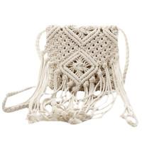 Wholesale fringe cross shoulder bag resale online - Fringe Tassel Crossbody Shoulder Bag Woven Handmade Boho Beach Travel Handbag for Women White