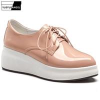 ingrosso zapatos oxford donne-Scarpe piattaforma di lusso Donna Vera pelle a punta spessa Suola casual Zeppe Scarpe stringate Oxford Zapatos Mujer 2019 Primavera