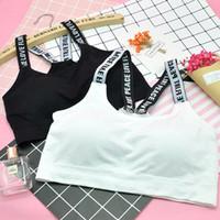 kızlar için spor sütyenleri toptan satış-Kızlar Spor Yoga Sutyen Katı Baskılı Mektup Nefes Çile Yelek Moda Basit Spor Giyim Tasarımcısı Spor Sütyen