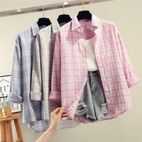 bluse langarmkorea großhandel-Blusen Weibliche beiläufige Herbst kariertes loses Hemd Long Sleeve Button 2019 Korea College Womens Tops