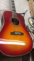 Wholesale acoustic electric guitars resale online - 41 Inch Custom Humming Desert Honey Sunburst Acoustic Electric Guitar Split Parallelogram Fingerboard Inlay Red Turtle Pickguard Top Sale