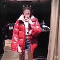 couro pato para baixo casacos venda por atacado-Mulheres jaqueta de inverno patch down marca casual couro envernizado à prova d 'água quente na moda jaqueta pato para baixo roupas femininas casaco de inverno 02312023