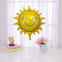 Children's birthday decoration sunflower golden sun smile sunflower aluminum film balloon baby first birthday cartoon ball