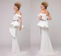 weiße bestickte kleider für party großhandel-Elegante weiße Meerjungfrau Abendkleider trägerlos mit Rüschen bestickte Perlen Satin AZZI OSTA Abendkleider günstig