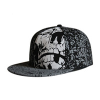 Wholesale flat billed hats for sale - Group buy Full close hip hop skull cap whole closure women men s leisure flat brim bill hip hop baseball cap fitted snapback hat T200409