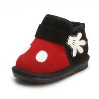 botas de niños pequeños al por mayor-Botas de nieve para bebé de dibujos animados lindo Bebé de cuero genuino Infant Girl Winter Shoes Little Kids Boot para niños pequeños
