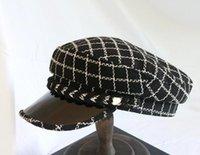ingrosso berretti-Nuovo autunno e l'inverno di alta qualità piatto superiore militare cappello moda plaid grano con elegante berretto retrò lingua d'anatra
