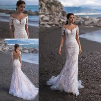 Wholesale simple elegant wedding tulle mermaid dresses for sale - Group buy Elegant Sheer Long Sleeves Lace Mermaid Wedding Dresses Tulle Applique Sweep Train Summer Beach Wedding Bridal Gowns With Button BC2299