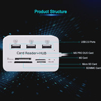 Wholesale usb multi card reader resale online - New Mini Card Reader USB Hub Combo High Speed Multi USB Hub Splitter Portable All In One For SD MMC M2 MS Pro Duo