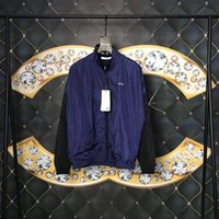 mans jacke blaue farbe großhandel-19ss Mens Designer Jacken Luxus Paris Brief Marineblau Kontrast Farbe Print Herren Kleidung Pullover Langarm Männer Frauen Top Qualität Tag Neu