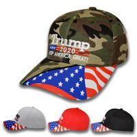 camouflage verstellbares snapback großhandel-Sterne USA-Flagge Baseballmütze Halten Sie Amerika Groß 2020 Hut Camouflage Donald Trump Peaked Hüte Stickerei Verstellbare Camo Snapback C7108