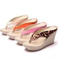 keil strand sandalen rosa großhandel-Frauen Sandalen Böhmen Keile Plattform hochhackige Plattform Sandalen Hausschuhe Flip-Flops für Frauen Strand Sandale Hausschuhe Frauen