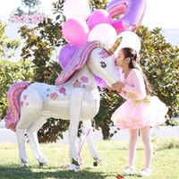 kızlar için doğum öncesi iyilikler toptan satış-Unicorn Parti Süslemeleri Malzemeleri 3D Büyük Unicornio Yürüyüş Hayvan Folyo Balonlar Kızlar Doğum Günü Tema Parti Dekoru C18112301 Şekeri