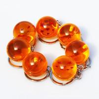 anel de chaves de bolas venda por atacado-Anime Goku Dragon Ball Super Chaveiro 3D 1-7 Estrelas Cosplay Bola de Cristal chave cadeia Coleção Figuras Toy Presente chave Anel Presentes Do Carro Acessórios