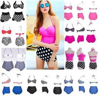 Wholesale wholesale high waisted swimwear online - woman brazilian swimsuit bandeau push up bikini sets high waist bikini set women swimwear high waisted bathing suits