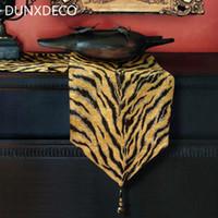ingrosso tavolo di lusso moderno-DUNXDECO Table Runner Party Dinner Tovaglia Tessuto Modern Tiger Stripe Animal Style Luxury Artistic Unique Room Decor