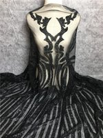 Wholesale gluing fabric for sale - Group buy Newest design african lace fabric black silver gold glued glitter French tulle lace fabric with sequins