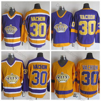 Wholesale vintage los angeles kings jerseys resale online - 1970 Los Angeles Kings Rogatien Vachon Jersey Vintage CCM Classic LA Rogatien Vachon Hockey Jersey Top Quality Stitched Yellow Purple